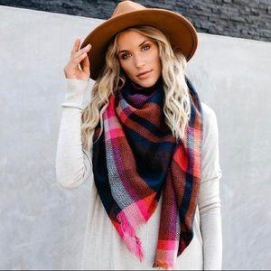 🆕 Navy & Orange Multicolor Plaid Blanket Scarf